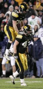 Senior MLB Pat Angerer led Iowa in tackles and interceptions last season. A giant leap from a sophomore season that saw him log one assisted tackle. (Cliff Jette photo)