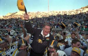 Hayden Fry is carried off the field and nearly to Ciudad Juarez after the Hawkeyes whupped Washington, 38-18, in the 1995 Sun Bowl.