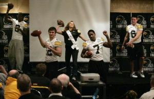 Iowa QBs at last year's FanFest, from left, Arvell Nelson (gone), Ricky Stanzi (starter), Golden Girl Diana Reed (terrific arm), Marvin McNutt (wide receiver) and Jake Christensen (transfer).
