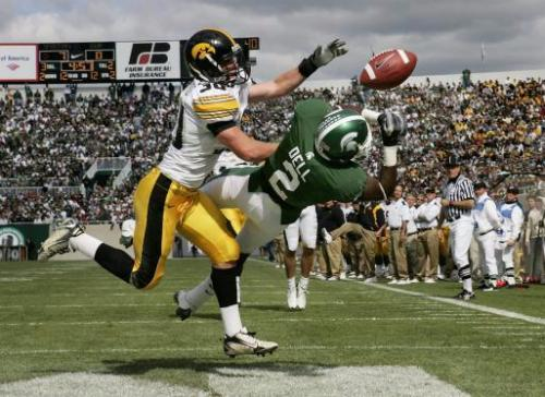 Iowa's Brett Greenwood (30) knocks away a pass intended for Michigan State's Mark Dell in the end zone during the second quarter of their Big Ten Conference football game Saturday, Oct. 4, 2008 in East Lansing, Mich. Iowa lost, 16-13. (Brian Ray/The Gazette)
