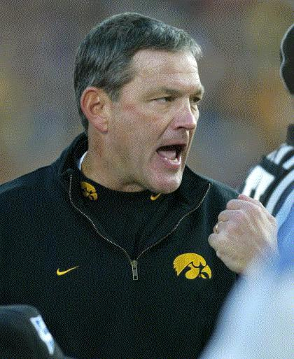 This was Kirk Ferentz during the Hawkeyes' 20-6 loss at Michigan in 2006. He was pretty charged up in the fourth quarter. After two years off, the series sparks up again when Iowa hosts the Wolverines on Oct. 10 at 7 p.m. (Gazette file)