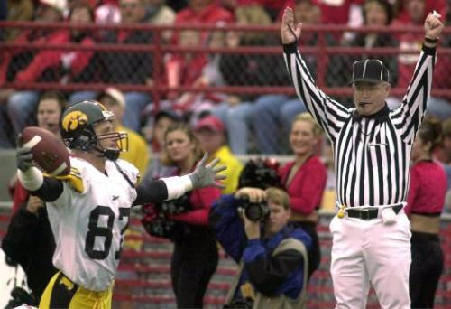 Iowa's Kevin Kasper celebrates Iowa's first touchdown against Nebraska, Saturday Sept. 23, 2000 in the first quarter of their game in Lincoln, Neb.(AP Photo/Dave Weaver)